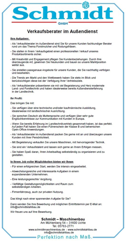 2021-02-09 Stellenanzeige Verkaufsberater im Außendienst